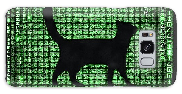 Galaxy Case featuring the digital art Cat In The Matrix Black And Green by Matthias Hauser