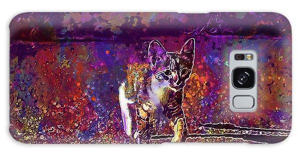 Galaxy Case featuring the digital art Cat Kitten Cat Baby Mackerel  by PixBreak Art