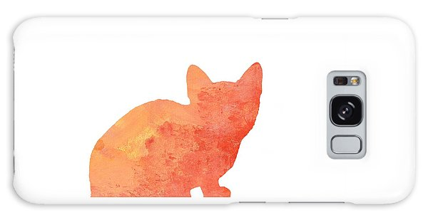 Watercolor Orange Cat Silhouette Galaxy Case