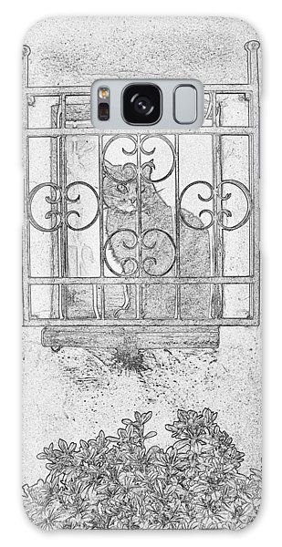 Galaxy Case - Cat Montepulciano Pen And Ink by Bob Neiman
