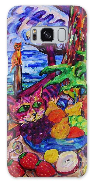 Cat On Table Bad Puss Galaxy Case by Dianne  Connolly