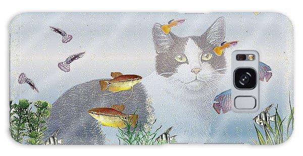 Cat Watching Fishtank Galaxy Case by Terri Mills