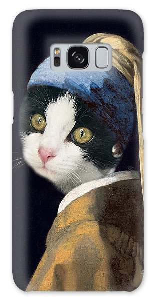 Girl With A Pearl Earring Galaxy Case - Cat With A Pearl Earring by Delphimages Photo Creations