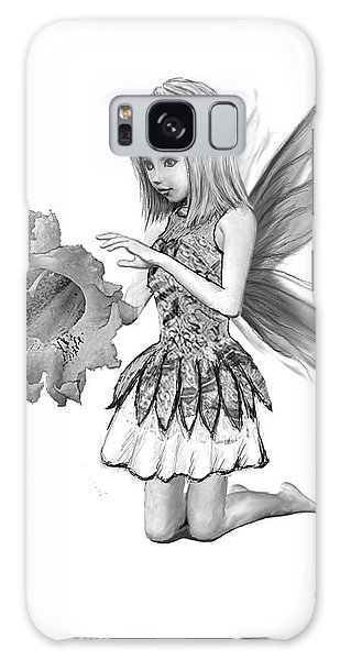 Catalpa Tree Fairy With Flower B And W Galaxy Case