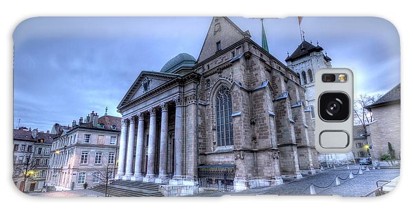 Cathedral Saint-pierre, Peter, In The Old City, Geneva, Switzerland, Hdr Galaxy Case by Elenarts - Elena Duvernay photo