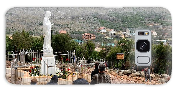 Catholic Pilgrim Worshipers Pray To Virgin Mary Medjugorje Bosnia Herzegovina Galaxy Case