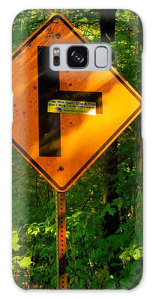 Traffic Signals Galaxy Case - Caution T Junction Road Sign by Jeelan Clark