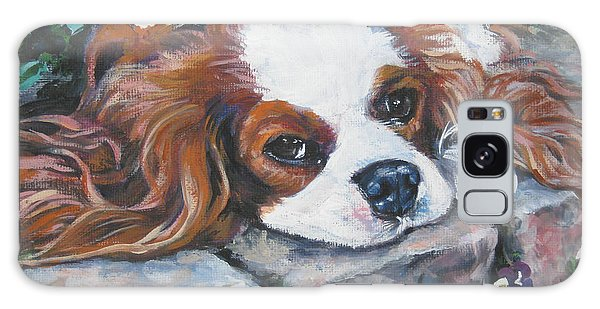 Cavalier King Charles Spaniel In The Pansies  Galaxy Case