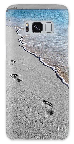 Cayman Footprints Color Splash Black And White Galaxy Case by Shawn O'Brien