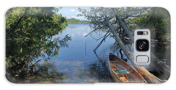 Cedar Strip Canoe And Cedars At Hanson Lake Galaxy Case by Larry Ricker