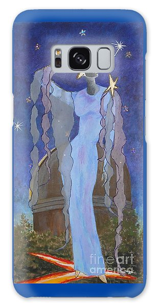 Celestial Bodies -- Fashion Collage Portrait W/ Fabric And Crystals Galaxy Case