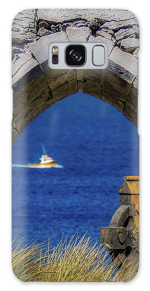 Galaxy Case featuring the photograph Celtic Cross And Fishing Vessel From Isle Of Inisheer by James Truett