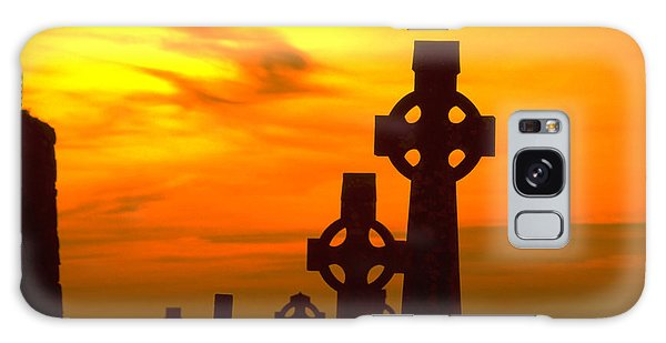 Celtic Crosses In Graveyard Galaxy Case by Carl Purcell