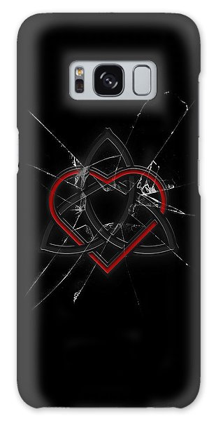 Galaxy Case featuring the digital art Celtic Knotwork Valentine Heart Broken Glass 1 by Brian Carson