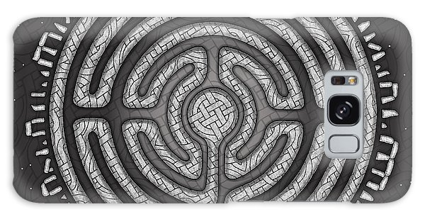 Galaxy Case featuring the mixed media Celtic Labyrinth Mandala by Kristen Fox