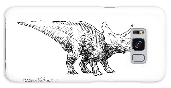 Cera The Triceratops - Dinosaur Ink Drawing Galaxy Case