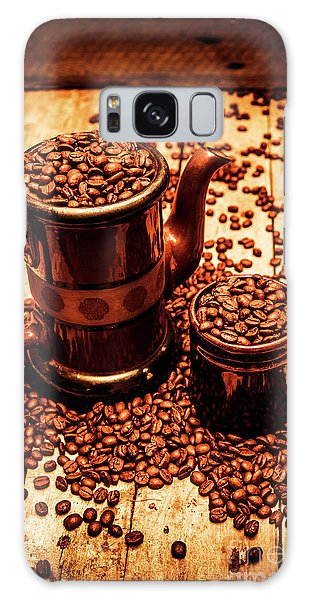 Cafe Galaxy Case - Ceramic Coffee Pot And Mug Overflowing With Beans by Jorgo Photography - Wall Art Gallery