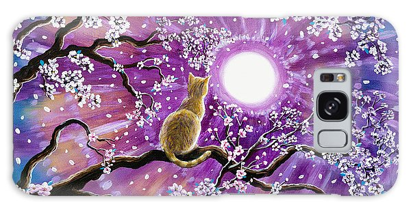 Tabby Galaxy Case - Champagne Tabby Cat In Cherry Blossoms by Laura Iverson