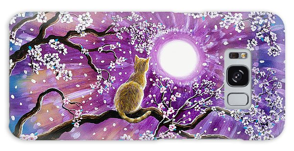Champagne Tabby Cat In Cherry Blossoms Galaxy Case