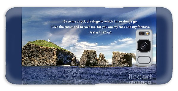 Channel Island National Park - Anacapa Island Arch With Bible Verse Galaxy Case