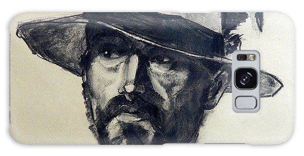 Charcoal Portrait Of A Man Wearing A Summer Hat Galaxy Case