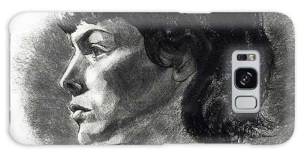 Charcoal Portrait Of A Pensive Young Woman In Profile Galaxy Case
