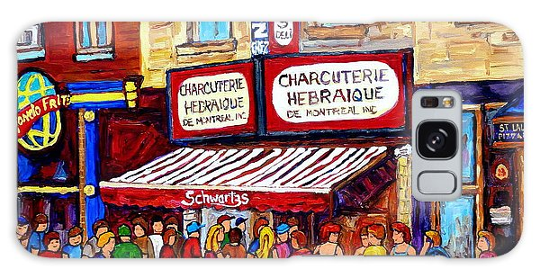 Charcuterie Hebraique Schwartz Line Up Waiting For Smoked Meat Montreal Paintings Carole Spandau     Galaxy Case