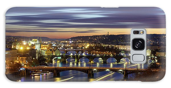 Charles Bridge During Sunset With Several Boats, Prague, Czech Republic Galaxy Case