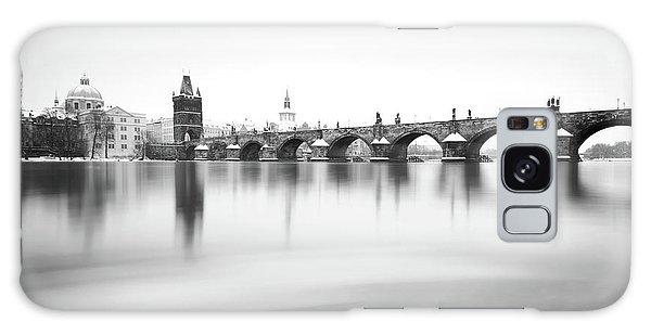 Charles Bridge During Winter Time With Frozen River, Prague, Czech Republic Galaxy Case