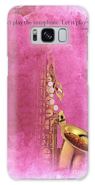 Charlie Parker Saxophone Light Red Vintage Poster And Quote, Gift For Musicians Galaxy Case by Pablo Franchi