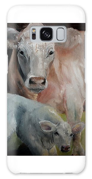 Charolais Cow Calf Painting Galaxy Case by Michele Carter
