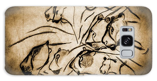 Chauvet Cave Lions Burned Leather Galaxy Case