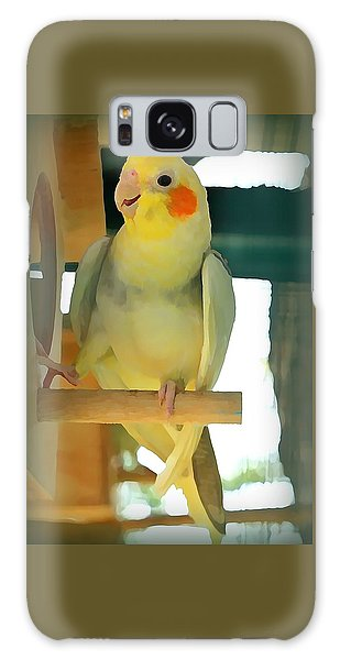 Galaxy Case - Cheerful Cockatiel by Raven Hannah