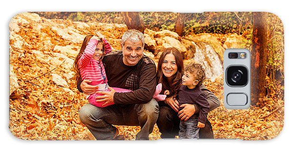 Cheerful Family In Autumn Woods Galaxy Case