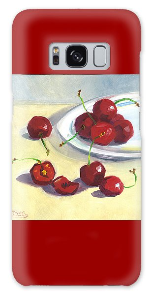 Cherries On A Plate Galaxy Case by Susan Thomas