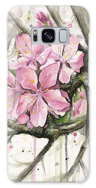Pink Flower Galaxy Case - Cherry Blossom by Olga Shvartsur