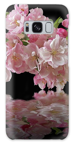 Cherry Blossom Reflections On Black Galaxy Case by Gill Billington