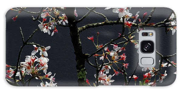 Cherry Blossoms On Dark Bkgrd Galaxy Case
