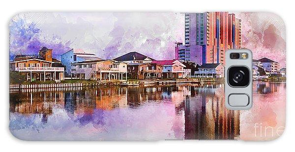 Cherry Grove Skyline - Digital Watercolor Galaxy Case