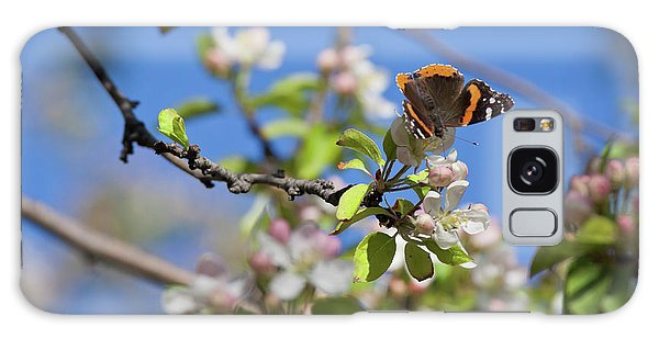 Monarch Butterfly On Cherry Tree Galaxy Case