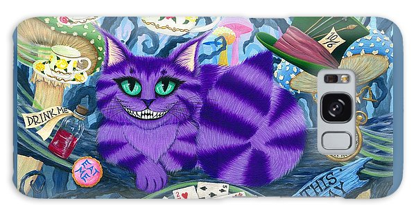 Galaxy Case featuring the painting Cheshire Cat - Alice In Wonderland by Carrie Hawks