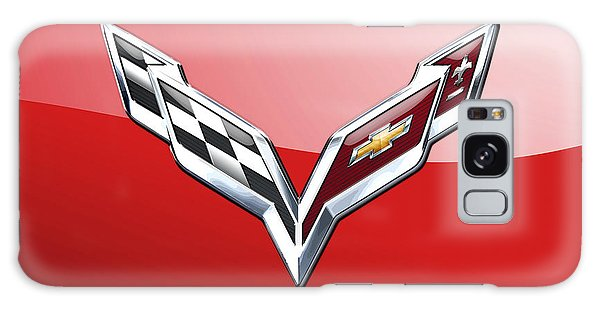 Automotive Galaxy Case - Chevrolet Corvette - 3d Badge On Red by Serge Averbukh