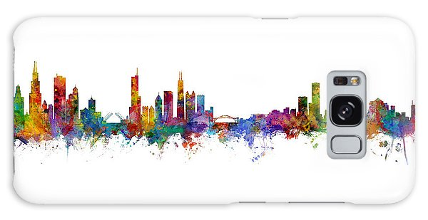 Chicago Skyline Galaxy Case - Chicago And Milwaukee Skyline Mashup by Michael Tompsett