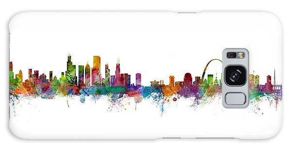 Chicago And St Louis Skyline Mashup Galaxy Case by Michael Tompsett