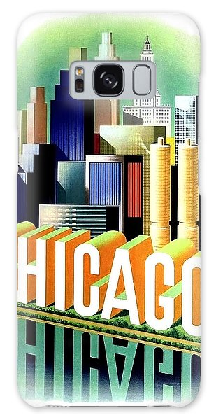 Vintage Chicago Galaxy Case - Chicago, Big City, Skyscrapers, Travel Poster by Long Shot