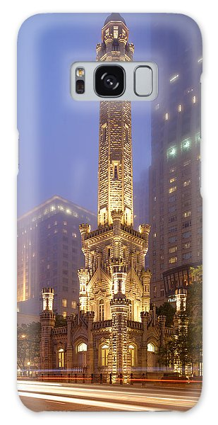 Chicago Historic Water Tower On Michigan Avenue Foggy Twilight - Chicago Illinois Galaxy Case