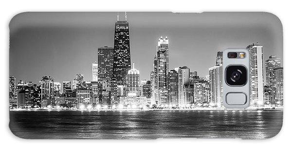 Chicago Lakefront Skyline Black And White Photo Galaxy Case