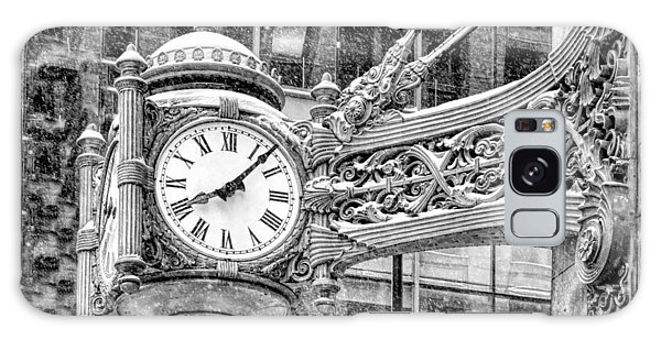 Galaxy Case featuring the photograph Chicago Marshall Field State Street Clock Black And White by Christopher Arndt