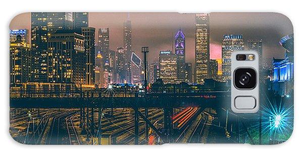 Transportation Galaxy S8 Case - Chicago Night Skyline  by Cory Dewald