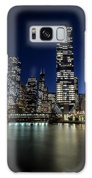 Chicago River And Skyline At Dusk  Galaxy Case